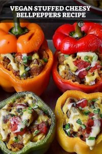 Vegan Stuffed Cheesy Bell peppers