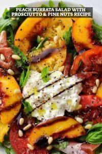 Peach Burrata Salad with Prosciutto & Pine Nuts Recipe